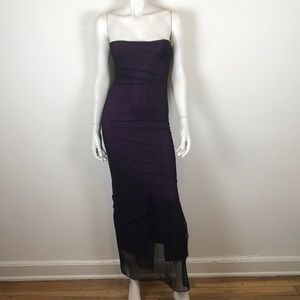 Vintage 90s y2k 00s purple goth mesh maxi dress XS